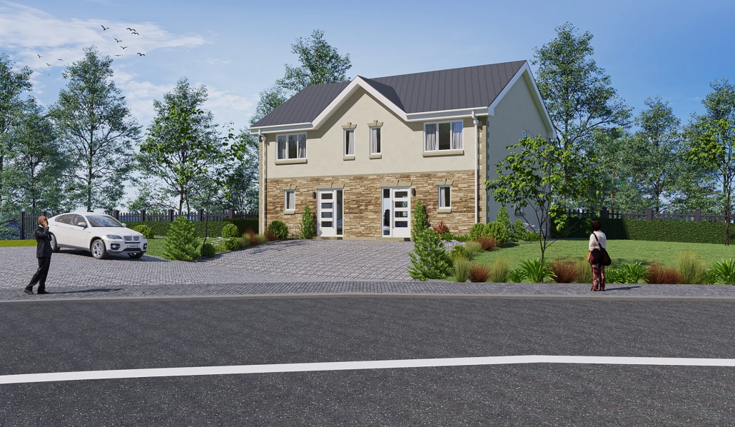 3d render house exterior