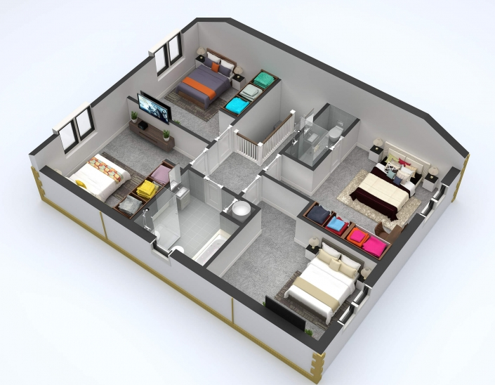 Residential 3d sections Plan animation