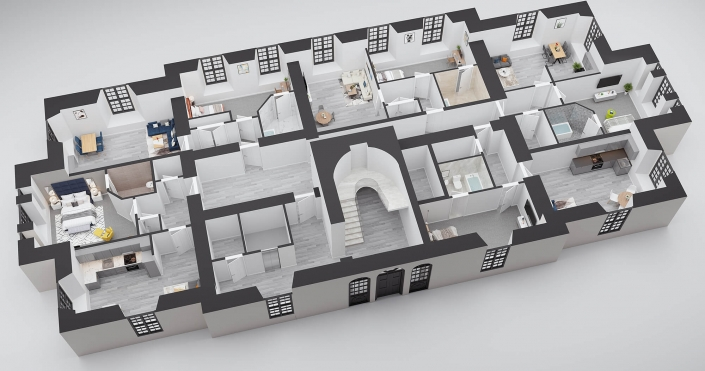 3d rendering of house plans